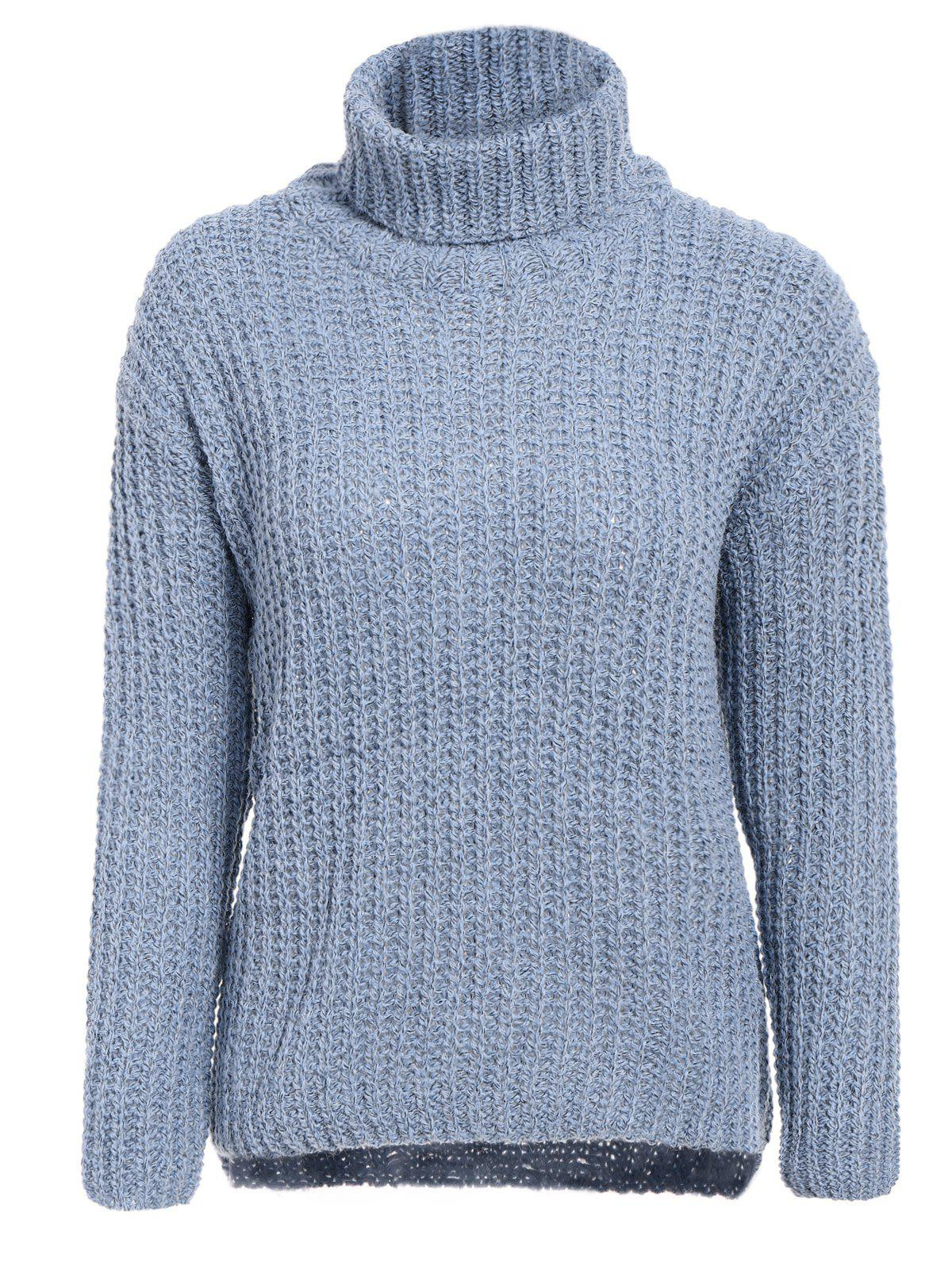 Stylish Women's Turtleneck Long Sleeve High-Low Sweater - BLUE GRAY ONE SIZE(FIT SIZE XS TO M)