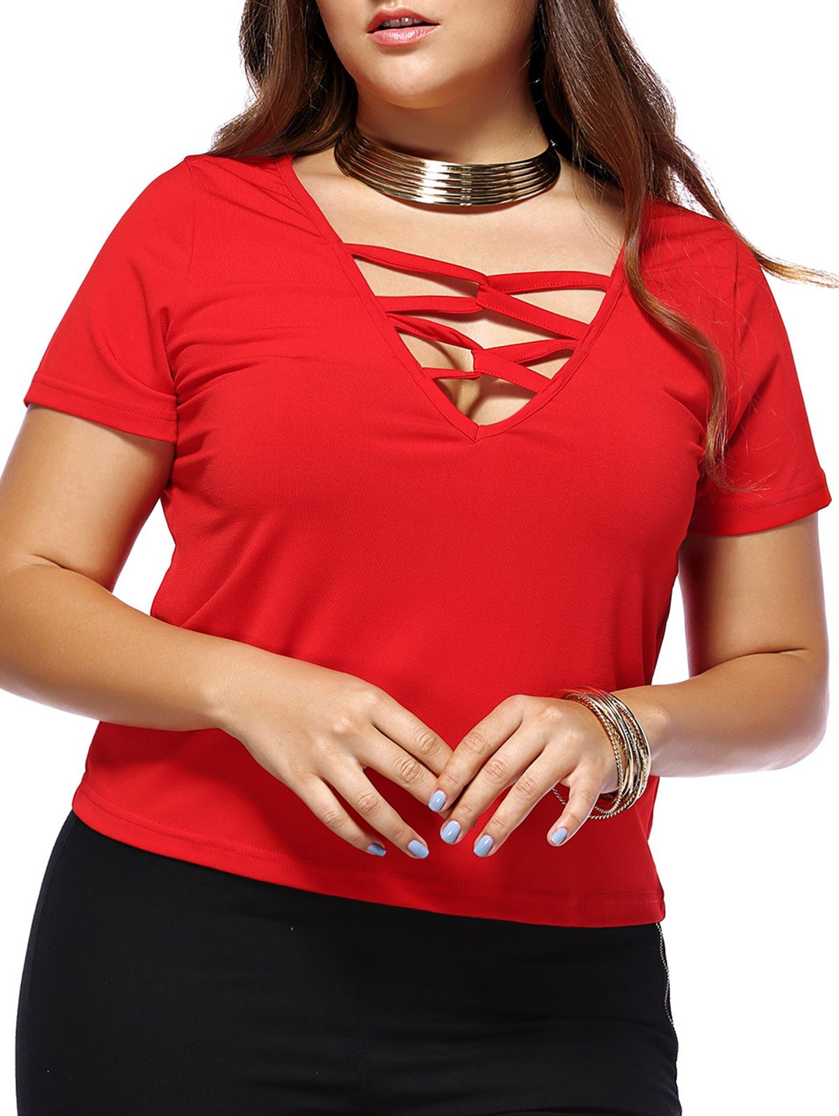 Alluring Plus Size Red Criss Cross Plunging Neck Women's T-Shirt