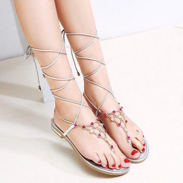 Trendy Lace-Up and Chain Design Women's Sandals - GOLDEN 38