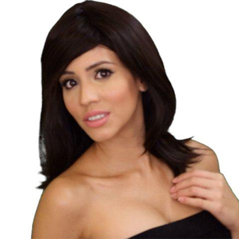 Women's Fashion Full Bang Bob Style Heat Resistant Synthetic Capless Medium Wig - DEEP BROWN
