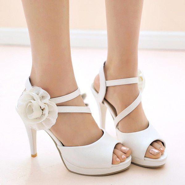 Graceful Flower and Stiletto Heel Design Women's Sandals - WHITE 39