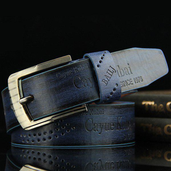 Stylish Hollow Out Hole Embellished Men's Retro PU Wide Belt