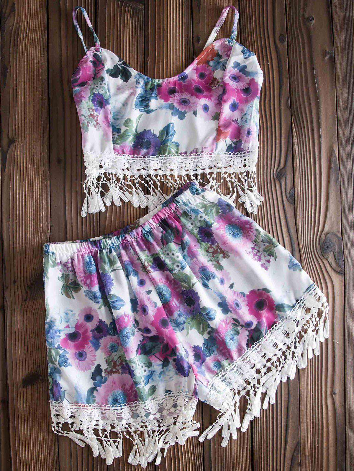 Stylish Spaghetti Strap Fringe Design Floral Print Tank Top + High-Waisted Shorts Women's Twinset - COLORMIX S