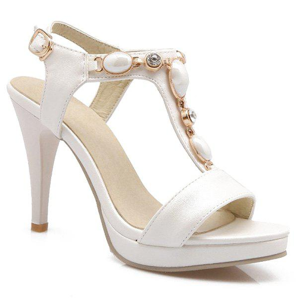 Graceful Beading and T-Strap Design Women's Sandals