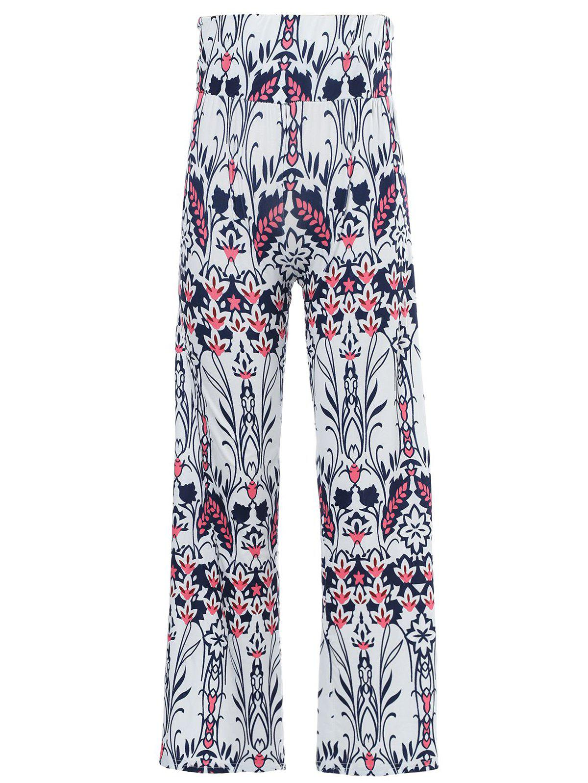 Fashionable Mid-Waisted Loose-Fitting Floral Print Women's Exumas Pants - WHITE L
