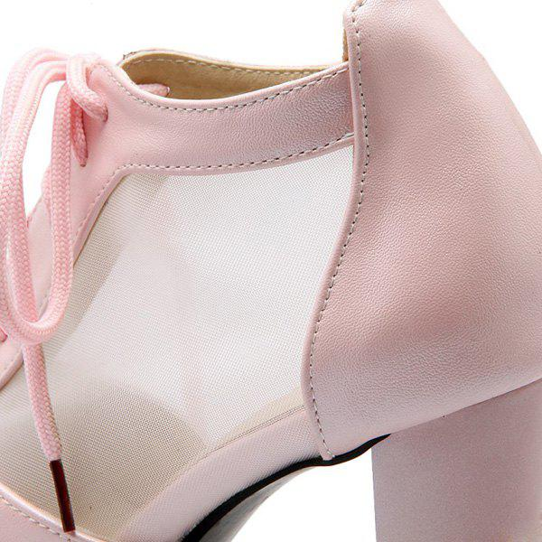Sweet Lace-Up and Splicing Design Women's Peep Toe Shoes - LIGHT PINK 38