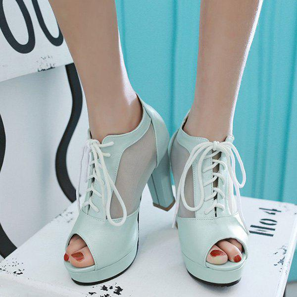 Sweet Lace-Up and Splicing Design Women's Peep Toe Shoes - LIGHT BLUE 38