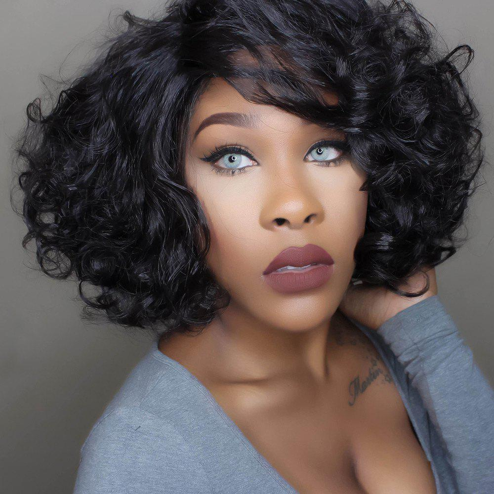 Towheaded Ladylike Heat Resistant Fiber Curly Short Inclined Bang Natural Black Capless Wig For Women