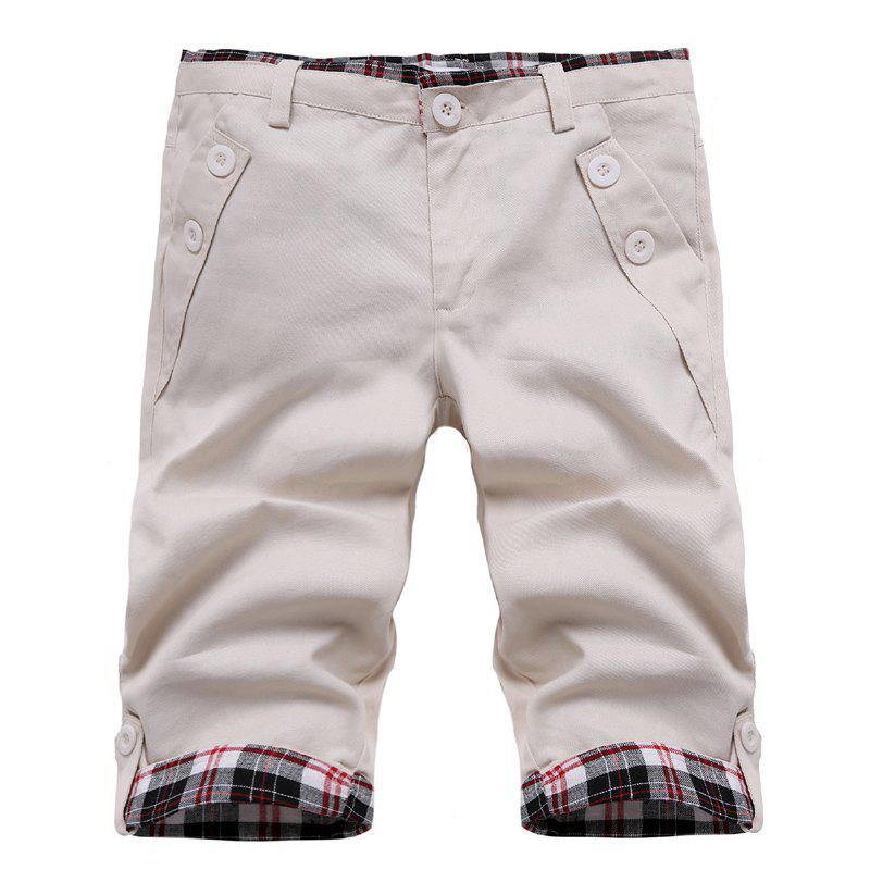 Fashion Straight Leg Plaid Spliced Color Block Men's Zipper Fly Shorts - OFF WHITE M