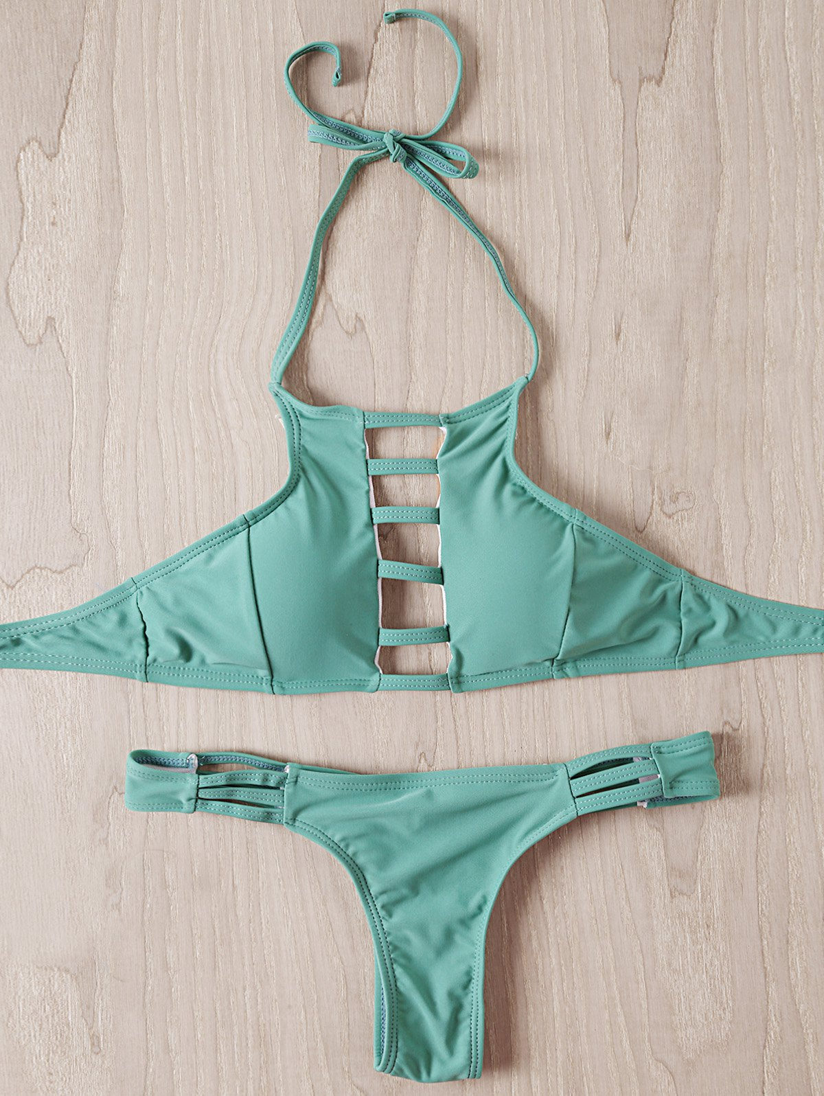 Stylish Women's Halter Strappy Hollow Out Bikini Set - MINT GREEN S