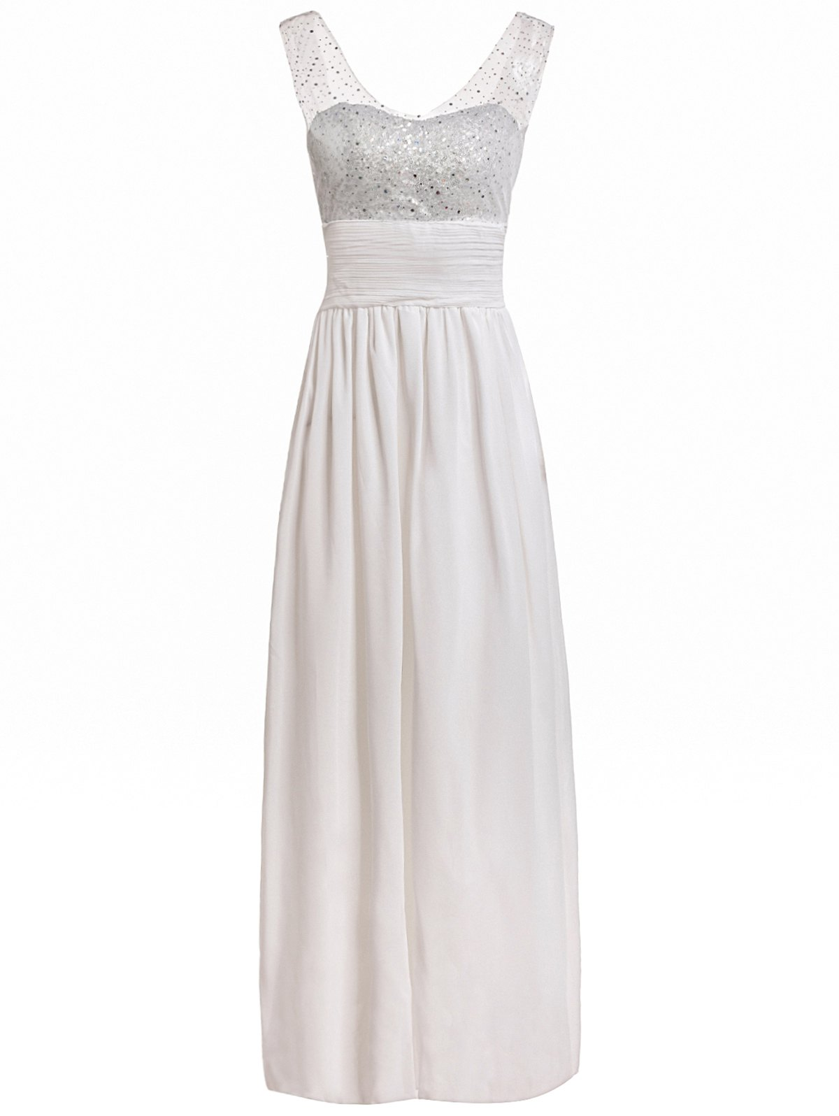 Charming Sequined V-Neck Backless Layered Gauze Spliced Maxi Dress For Women - WHITE L
