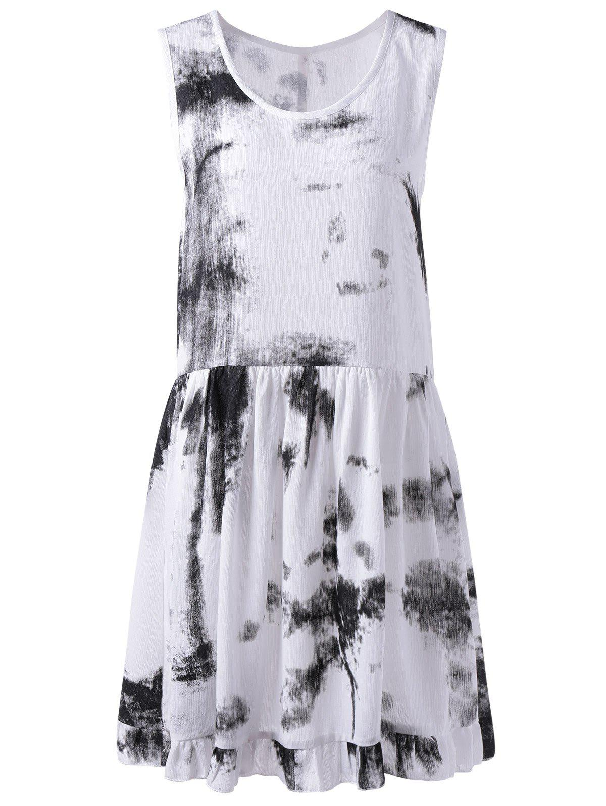 Trendy Tie Dye U Neck Sleeveless Dress For Women - BLACK S