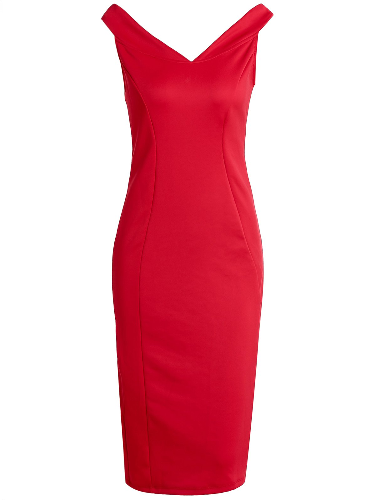 V-Neck Pure Color Sleeveless Bodycon Dress For Women - RED ONE SIZE(FIT SIZE XS TO M)