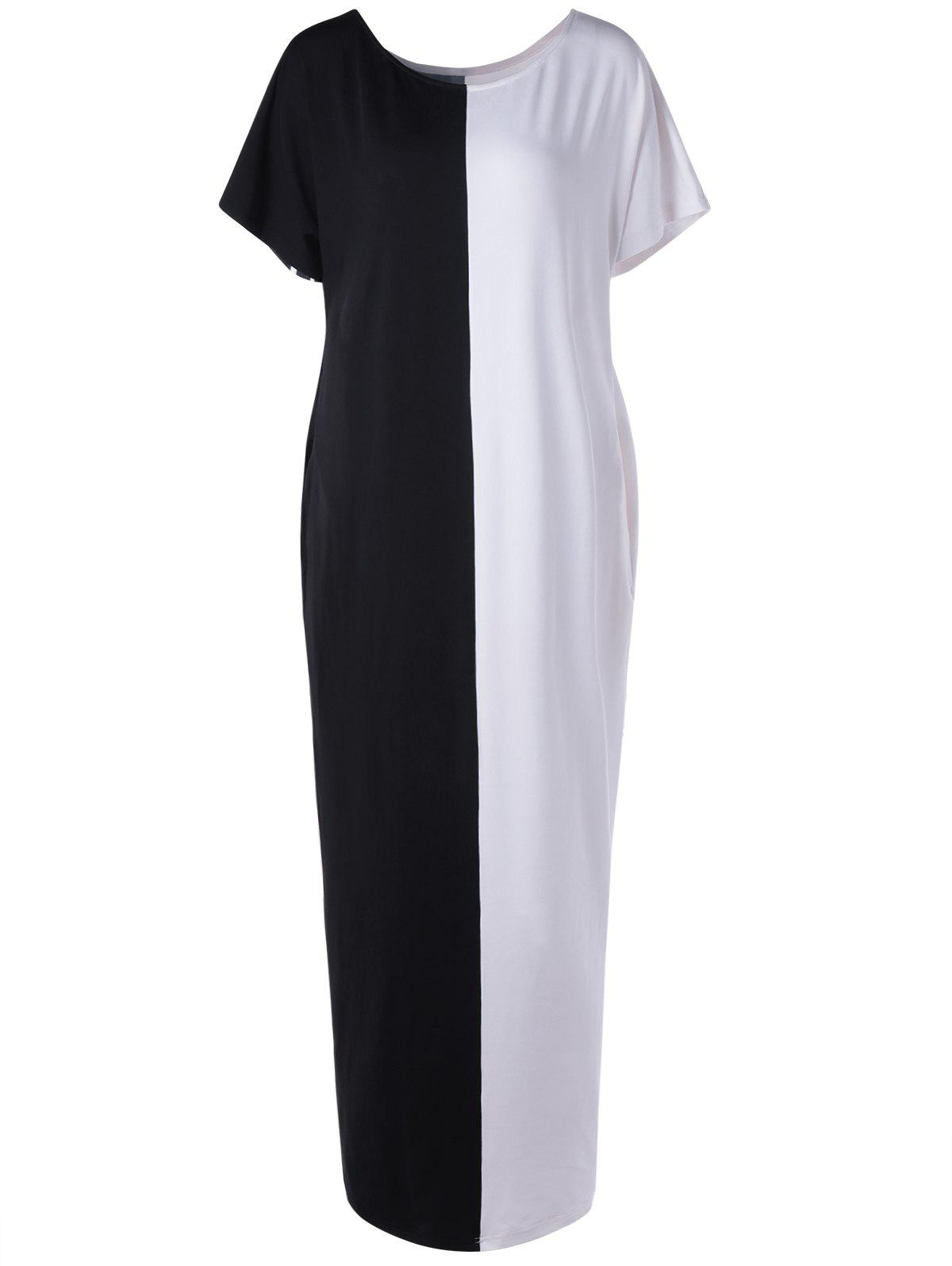 Stylish Black And White Color Block Dress For Woman - WHITE/BLACK L