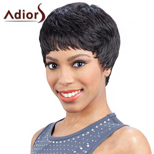 Elegant Black Heat Resistant Synthetic Short Hairstyle Capless Adiors Wig For Women - BLACK