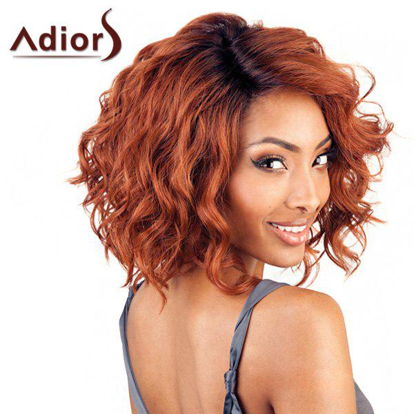 Fluffy Curly Synthetic Short Trendy Dark Auburn Ombre Adiors Wig For Women