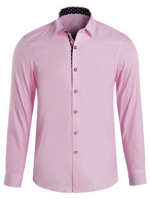 Men's Casual Printed Turn Down Collar Shirts - PINK L