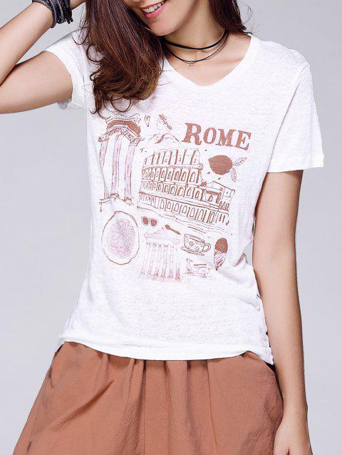 Rome Graphic Fitted T-Shirt - WHITE L