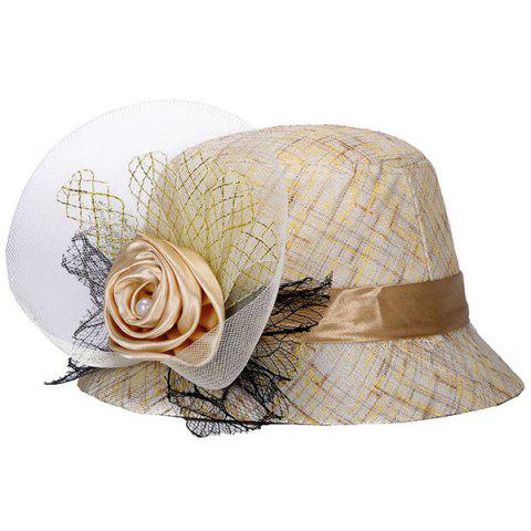 6bd3c8f02ef Chic Mesh Yarn and Satin Flower Embellished Sunscreen Women s Linen Bucket  Hat - OFF WHITE