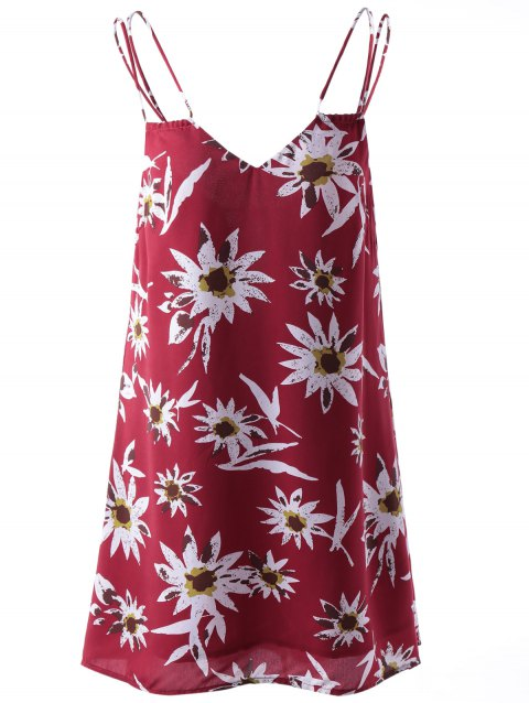 Stylish Printing Spaghetti Straps Dress For Women - COLORMIX M