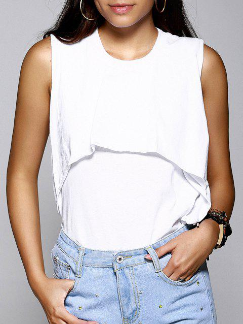 Simple col rond Layered couleur unie Double femmes s 'Tank Top - Blanc ONE SIZE(FIT SIZE XS TO M)