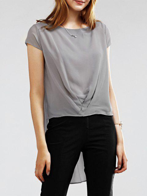 Round Collar Short Sleeve Pleated Chic Asymmetrical Hem Women's Blouse - GRAY S
