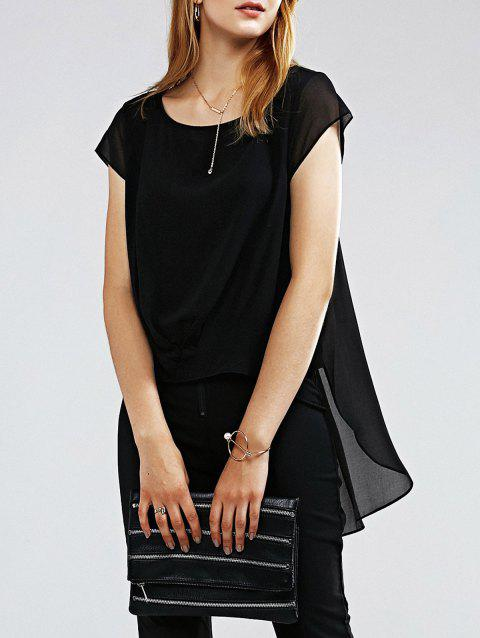 Round Collar Short Sleeve Pleated Chic Asymmetrical Hem Women's Blouse - BLACK S