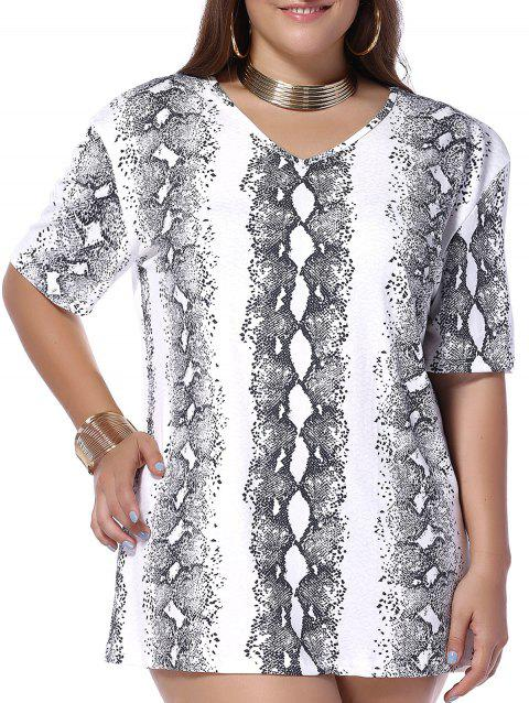 Plus Size Snakeskin Pattern V Neck Tee - WHITE 4XL