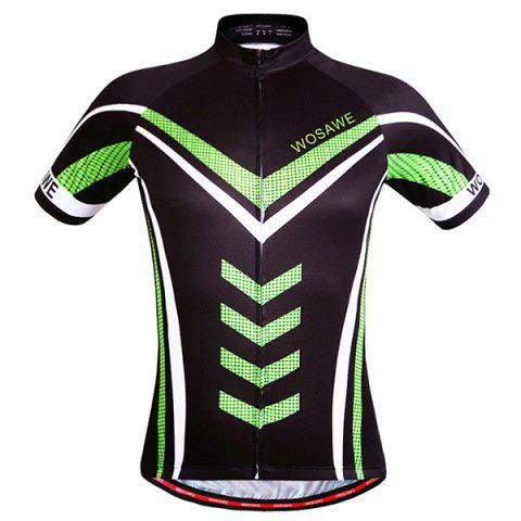Stylish Geometric Pattern Full Zipper Short Sleeve Summer Cycling Jersey For Men - COLORMIX L