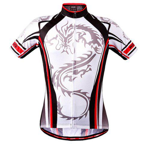 High Quality Dragon Totem Design Full Zipper Short Sleeve Summer Cycling Jersey For Men - WHITE S