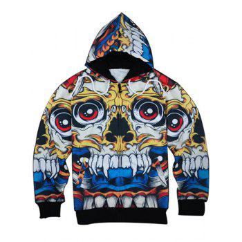 Slimming Modish Hooded 3D Cartoon Skull Print Long Sleeve Men's Cotton Blend Hoodie