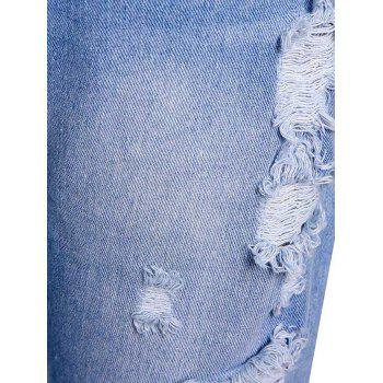 Casual High-Waisted Frayed Ripped Women's Ninth Jeans - M M