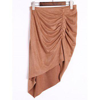 Stylish High-Waisted Ruched Asymmetrical Women's Skirt