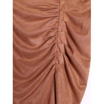 Stylish High-Waisted Ruched Asymmetrical Women's Skirt - KHAKI ONE SIZE(FIT SIZE XS TO M)
