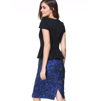 Graceful Women's Plunging Neck Short Sleeve Flounce Waist Bodycon Dress - BLUE/BLACK L