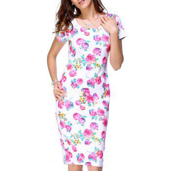Stunning Scoop Neck Short Sleeve Floral Print Back Slit Dress For Women