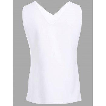 Stylish Women's V-Neck Asymmetric Sleeveless Top - WHITE S