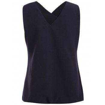 Stylish Women's V-Neck Asymmetric Sleeveless Top - BLACK M