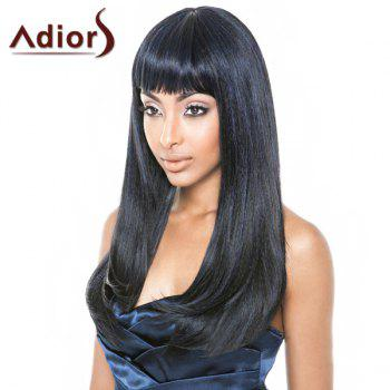 Fashion Straight Full Bang Synthetic Black Mixed Blue Capless Adiors Wig For Women