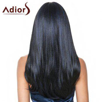 Fashion Straight Full Bang Synthetic Black Mixed Blue Capless Adiors Wig For Women - BLUE/BLACK