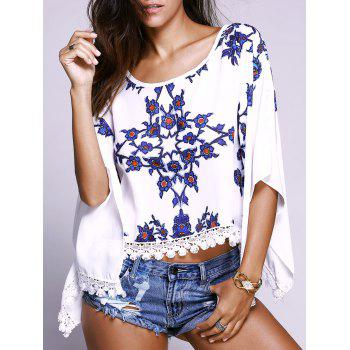 Floral Pattern Batwing Sleeves Lace Spliced Top