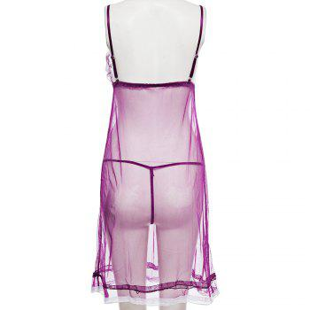Lace-Up Georgette Bowknot Decorated Translucent Babydolls - PURPLE PURPLE
