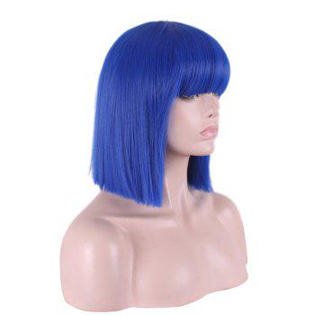 Women's Stylish Full Bang Straight Sythetic Cosplay Bob Wig - BLUE