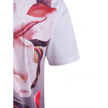 Men's Casual Short Sleeves Plant Printed V-Collar T-Shirt - 3XL 3XL