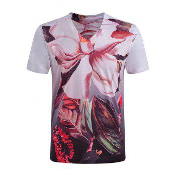 Men's Casual Short Sleeves Plant Printed V-Collar T-Shirt