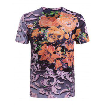Men's Casual Short Sleeves Flower Printing V-Collar T-Shirt