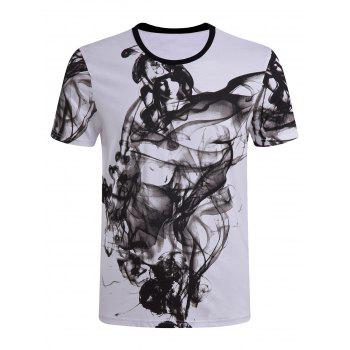 Men's Casual Short Sleeves Painting Round Collar T-Shirt