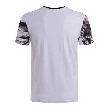Men's Casual Short Sleeves Painting Round Collar T-Shirt - 2XL 2XL
