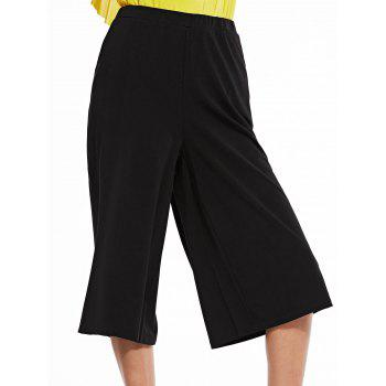 Trendy Black Capri Wide Leg Pants For Women