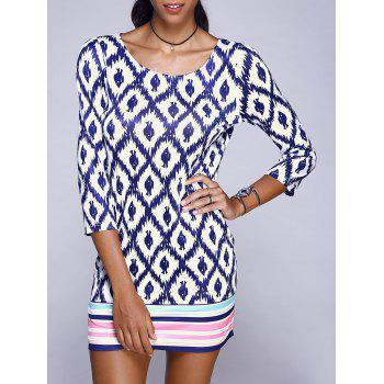 Chic Geometric With Stripe Print 3/4 Sleeve Mini Dress For Women
